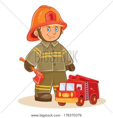 Vector icon of small child firefighter in fire protection suit and his machine. Design element, print for t-shirt