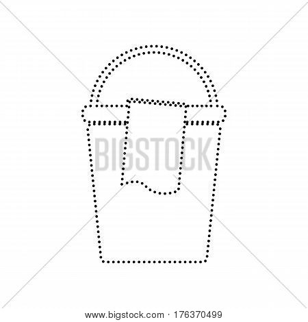 Bucket and a rag sign. Vector. Black dotted icon on white background. Isolated.