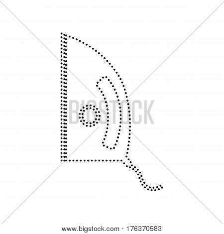 Iron sign. Vector. Black dotted icon on white background. Isolated.