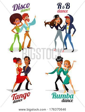 Set vector cartoon illustrations of a couples dancing tango, rumba, disco and hip hop isolated on white background. Element for the advertising poster of the school of dance, competitions in dances