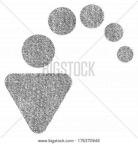 Undo vector textured icon for overlay watermark stamps. Fabric gray vectorized texture. Symbol with scratched design. Rubber seal stamp with fiber textile structure.