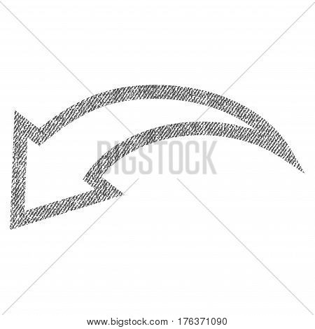 Undo vector textured icon for overlay watermark stamps. Fabric gray vectorized texture. Symbol with unclean design. Rubber seal stamp with fiber textile structure.