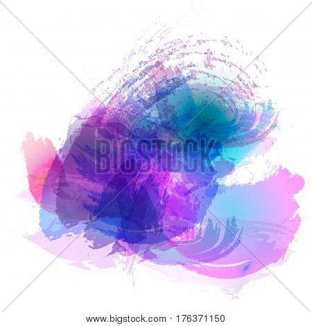 Imitation of strokes with a watercolor brush of blue pink purple colors on a white paper vector background.