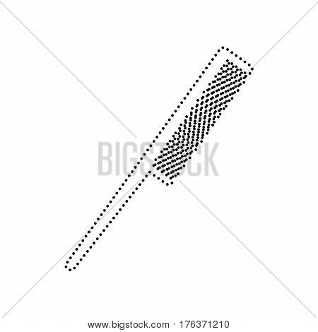 Comb sign. Vector. Black dotted icon on white background. Isolated.