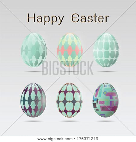Set of realistic six easter eggs icons on white background for Easter holidays design vector illustration Eps 10.