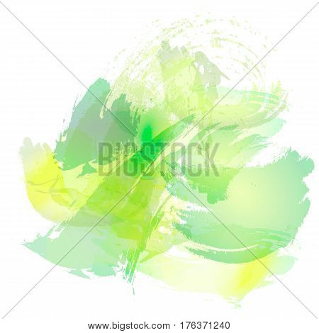 Imitation of strokes with a watercolor brush of green and yellow colors on a white paper vector background.