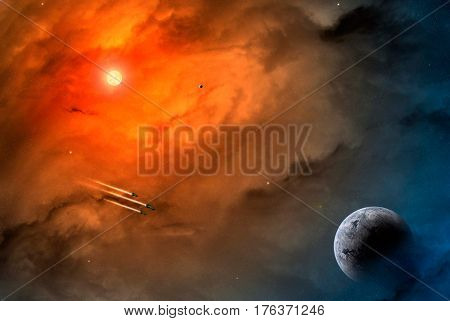 Space scene. Orange nebula with planet and sun. Elements furnished to NASA