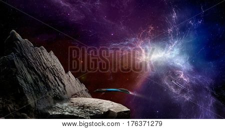 Space scene. Blue and violet nebula with landing spaceship. Elements furnished to NASA