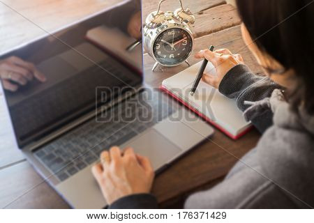 Business Woman Working Late At Home stock photo