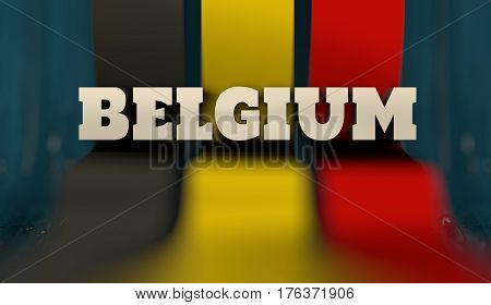 Belgium flag design concept. Flag made from curved stripes. Country name. Image relative to travel and politic themes. 3D rendering