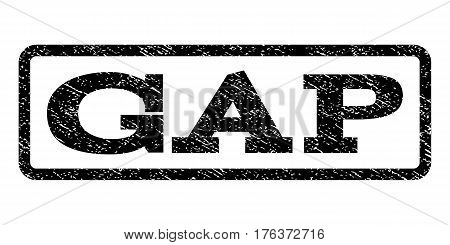 Gap watermark stamp. Text tag inside rounded rectangle frame with grunge design style. Rubber seal stamp with dirty texture. Vector black ink imprint on a white background.