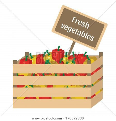 Wooden box with garden vegetables. Natural, healthy food concept.