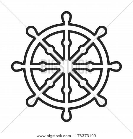 Dharma Wheel, Buddhism Vector Icon