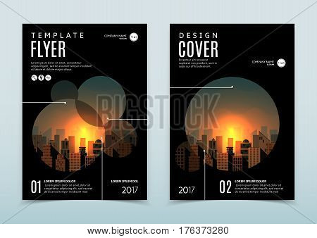 Vector design of black flyer template. Vector illustration. Concept of business brochure with modern flat design of urban landscape with city buildings. Dark poster with beautiful sunset.