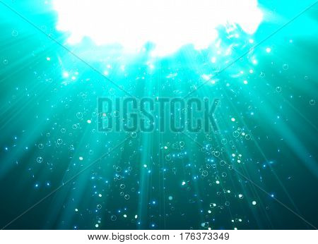Deep Water Bubbles Blue Color Illuminated By Rays Of Light Vector Illustration