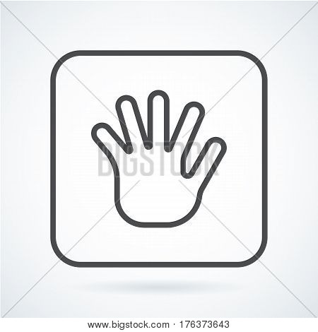 Black flat simple icon style line art. Outline symbol with stylized image of a gesture hand of a human greeting, palm and five fingers in a square with rounded corners. Stroke vector logo mono linear