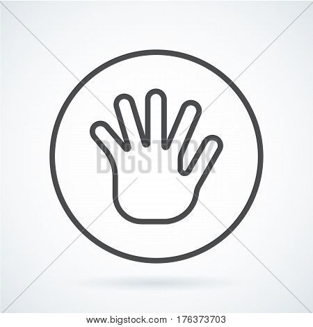 Black flat simple icon style line art. Outline symbol with stylized image of a gesture hand of a human greeting, palm and five fingers in circumference. Stroke vector logo mono linear pictogram.