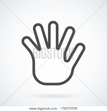 Black flat simple icon style line art. Outline symbol with stylized image of a gesture hand of a human greeting, palm and five fingers. Stroke vector logo mono linear pictogram web graphics.