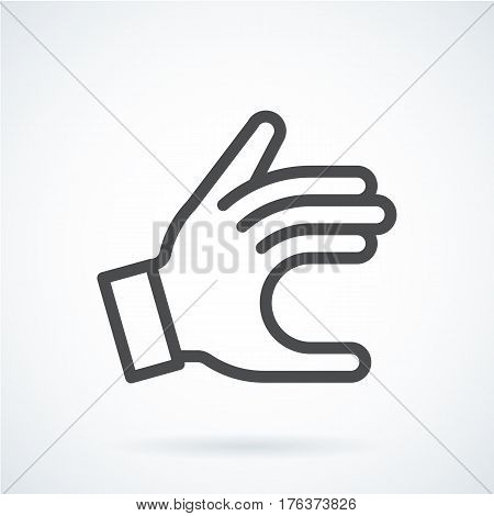Black flat simple icon style line art. Outline symbol with stylized image of a gesture hand of a human give. Stroke vector logo mono linear pictogram web graphics. On a gray background.