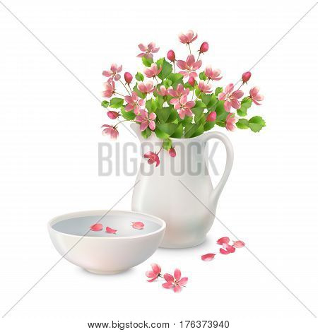 Vector spring bouquet in ceramic jug pottery bowl with fallen petals and flowers on a white background