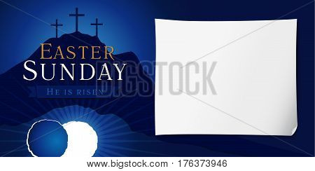 Easter christian motive, vector invitation to an Easter Sunday service with text He is risen on a background of rolled away from the tomb stone of Calvary.