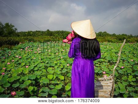 Vietnamese Woman In Traditional Dress