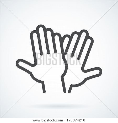 Black flat simple icon style line art. Outline symbol with stylized image of a gesture hand of a human high five, greeting. Stroke vector logo mono linear pictogram web graphics. On a gray background.