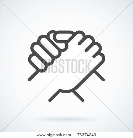 Black flat simple icon style line art. Outline symbol with stylized image of a gesture hand of a human greeting, armwrestling. Stroke vector logo mono linear pictogram graphics. On a gray background.