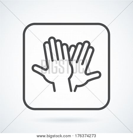 Black flat simple icon style line art. Outline symbol with stylized image of a gesture hand of a human high five, greeting in a square with rounded corners. Stroke vector logo mono linear pictogram.