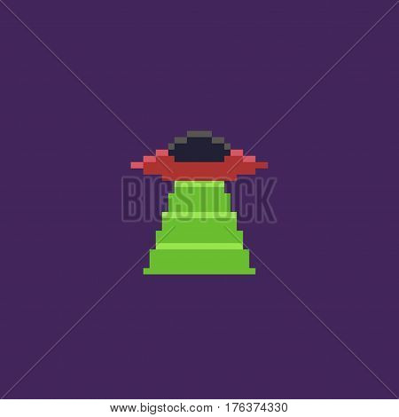 Pixel art UFO with green ray isolated on violet background