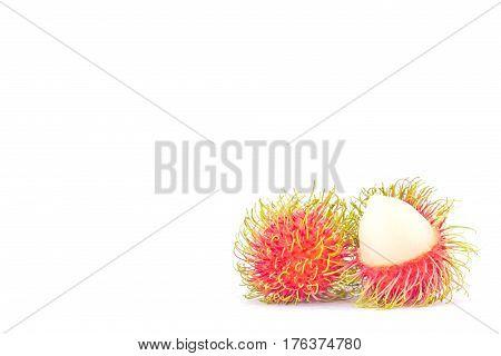 rambutan sweet delicious on white background healthy rambutan tropical fruit food isolated
