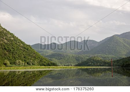 Lake Shkod also called Scutari, Skadar and Shkodra lies on the border of Albania and Montenegro, the largest lake in the Southern Europe