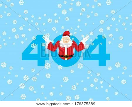 Error 404. Santa Claus Is Surprise. Page Not Found Template For Web Site. Christmas Grandfather Does