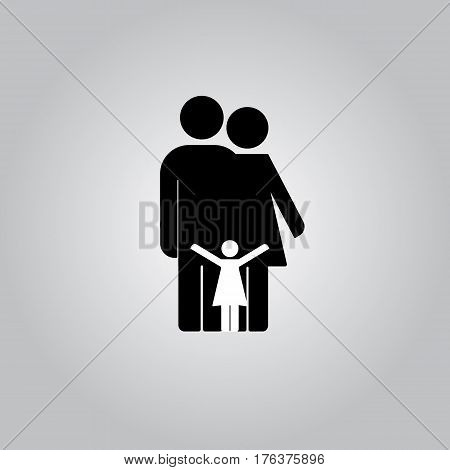 Family Icon in trendy flat style isolated on grey background. Parents symbol for your web site design, logo.