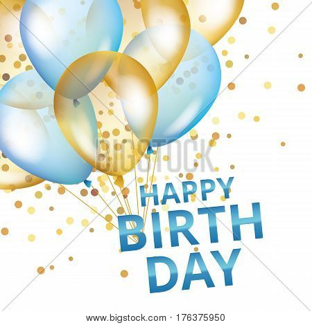Balloons happy birthday. Gold and blue balloons background Happy Birthday. Happy Birthday background. Greeting background for card, flyer, poster sign banner web postcard, invitation. Gold blur background.