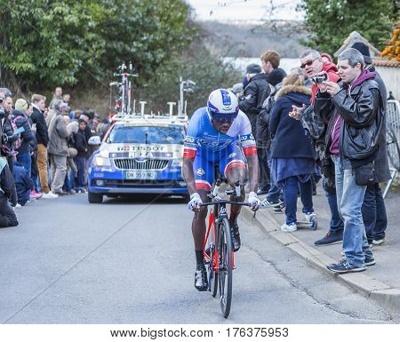 Conflans-Sainte-HonorineFrance-March 62016: The French cyclist Kevin Reza of FDJ Team riding during the prologue stage of Paris-Nice 2016.