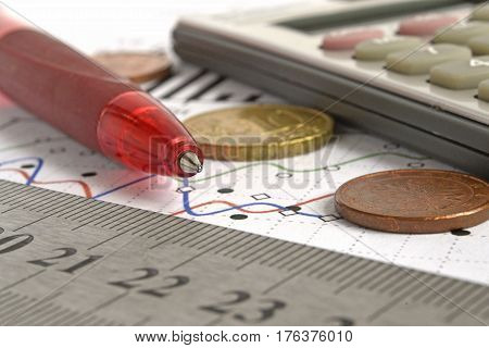 Financial background with money calculator ruler graph and pen.