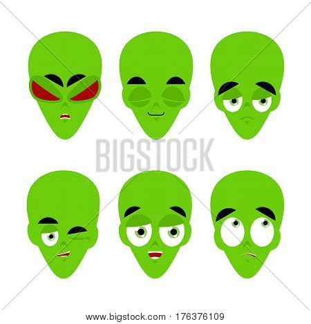 Green Alien Emoji. Emotion Set. Aggressive And Good Ufo Face. Surprised And Sleep. Space Invader Ava