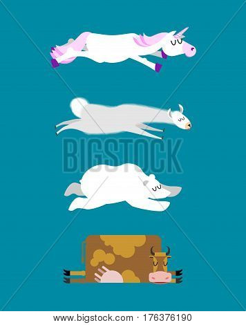 Sleeping Animals Set 3. Unicorn And Polar Bear. Cow And Llama. Wild Animal Sleeps. Sleepy Beast