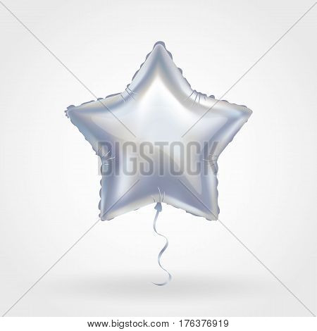 Silver star balloon on background. Party balloons event design decoration. Balloons isolated in the air. Party decorations wedding, birthday, celebration, anniversary, award. Shine Silvern balloon
