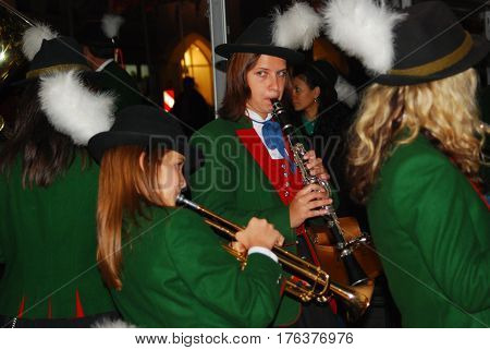 Neuoetting, Germany-Septemner 18,2010: Members of a marching band play during a jam session in the evening after a parade