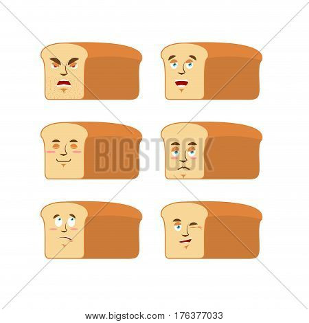 Bread Emoji. Emotion Set. Aggressive And Good Rooty Face. Surprised And Sleep. Piece Of Bread Avatar