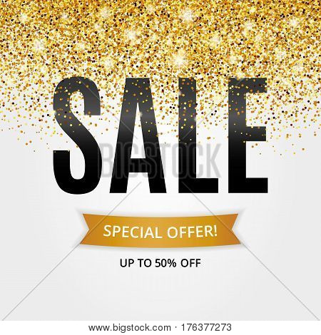 Gold sale background for flyer, poster, shopping. Logo, logotype, sign, symbol discount marketing. Sale, selling, web banner header. Abstract golden backdrop for text, type quote Shine blur texture