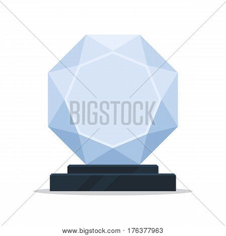 Empty glass trophy award. Vector illustration in simple flat style, isolated on white background
