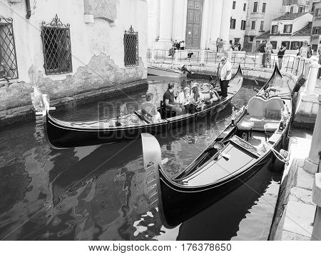 Gondola Rowing Boat In Venice In Black And White