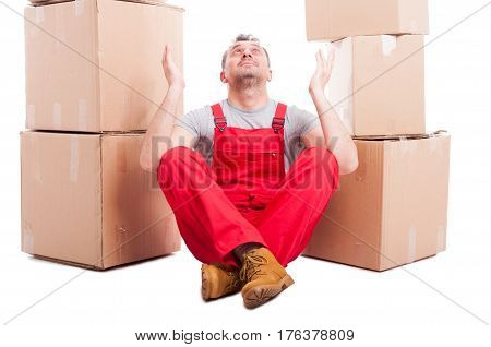 Mover Man Sitting Down Making Hoping Gesture