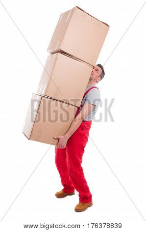 Man Lifting Bunch Of Heavy Cardboard Boxes