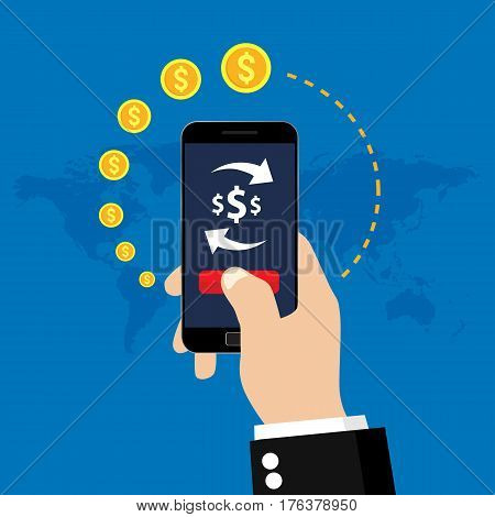 Mobile money transfer and exchange. Vector illustration icon.