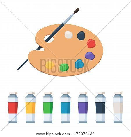Art palette with paints and paintbrush. Vector illustration in flat style design, isolated on white background