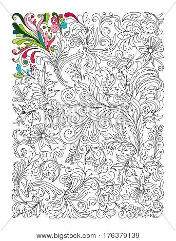 Doodle floral pattern in black and white. Page for coloring book: very interesting and relaxing job for children and adults. Zentangle drawing.